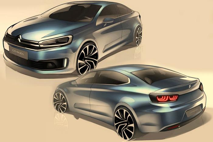 Дизайн-студия компании Citroen представила первый тизер седана C-Quatre
